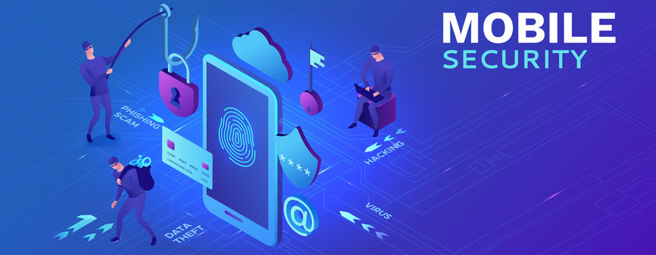 Mobile security concept, data protection, cyber crime, 3d isometric vector illustration, fingerprint, phishing scam, information protection,  smartphone safety and security
