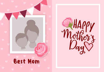 Happy mother's day greeting card design, with photo frame for uploading picture, photo. Vector background with flowers and hearts. Mother's day lettering calligraphic emblem