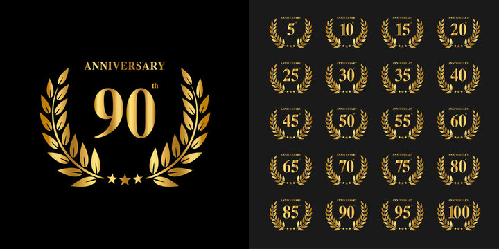 Set of anniversary logotype. Golden anniversary celebration emblem design for company profile, booklet, leaflet, magazine, brochure poster, web, invitation or greeting card.