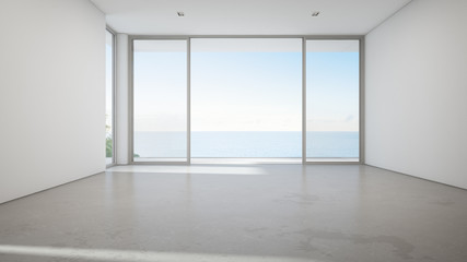 Wall Mural - Sea view large living room of luxury summer beach house with big glass door and empty concrete floor. Vacation home or holiday villa interior 3d illustration.