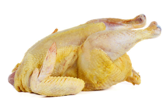 Whole raw chicken isolated on white background