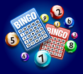 Vector Colorful Bingo Ball with Bingo Card isolated on Blue Background