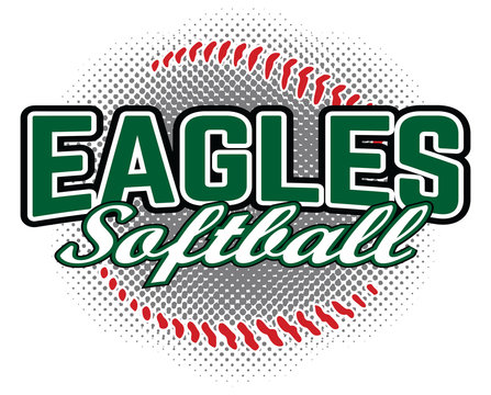 Eagles Softball Design is a team design template that includes a softball graphic and overlaying text. Great for advertising and promotion for teams or schools.