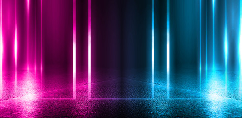 Empty background scene. Dark street, a reflection of blue and pink neon light on wet pavement. Rays of light in the dark, smoke. Night view of the street, the city. Abstract dark background. Fotomurales