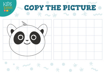 Copy picture vector illustration. Educational game for preschool kids.