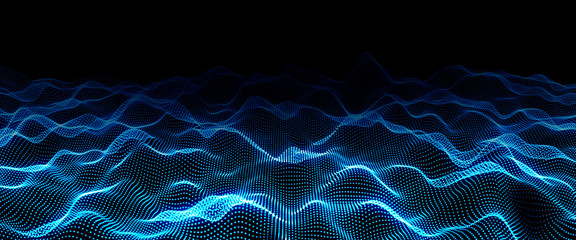 Deurstickers Fractal waves Digital wave backdrop