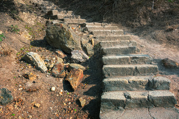 Stone staircase leading from the St. George Monastery on Cape Fiolent, Crimea Peninsula, to the Black Sea