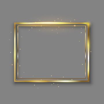Golden luxury shiny glowing vintage frame with reflection and shadows. Isolated gold border decoration – for stock vector