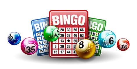 Vector Colorful Bingo Ball with Bingo Card isolated on White Background