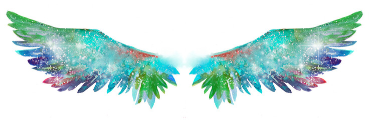 Beautiful magic watercolor wings, symbol of freedom
