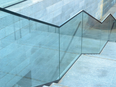 Blue glass stairs modern at day