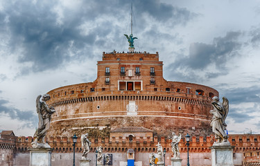 Fotomurales - View of Castel Sant'Angelo fortress in Rome, Italy
