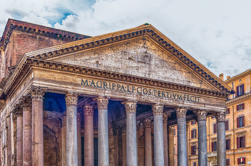 Wall Mural - Facade of the Pantheon, iconic landmark in Rome, Italy