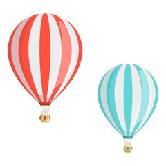Set of hot air balloons. Red and blue air balloon. Travel concept template design.