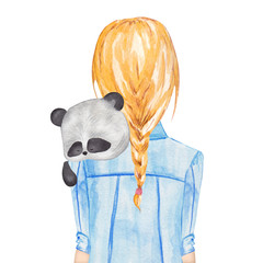 Girl holding panda. Hand drawn watercolor illustration
