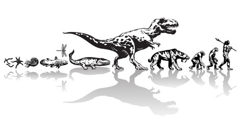 History of life on Earth. Timeline of evolution from prehistoric animals, dinosaur, saber toothed tiger, monkey to cave man. Hand drawn vector sketch on white background.