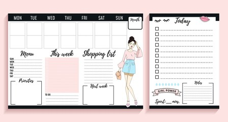 Weekly planner design with fashion elements and young women. Vector illustration