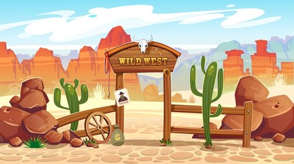 Wild west cartoon illustration with cowboy, skull, wanted poster and mountains. Vector western illustration