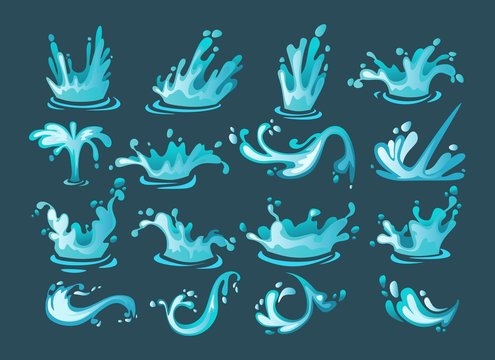 Water splash cartoon set. Colorful water arch, drops, whirls, waves. Water motion collection isolated on blue background. Vector illustration.