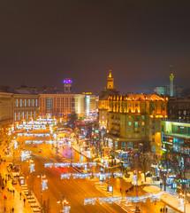 Fototapete - Evening Khreshatyk street, Kiev, Ukraine