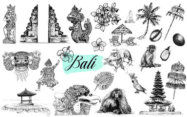 Set of hand drawn sketch style Bali themed objects isolated on white background. Vector illustration.
