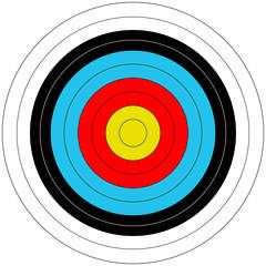 Zielscheibe beim Bogenschießen