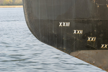 hull with mark of the waterline at the watertight body of a ship or boat