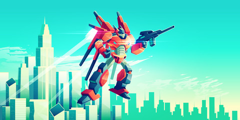 Alien warrior, armed transformer robot flying in sky under modern metropolis skyscrapers, patrolling, attacking enemies with plasma gun illustration. Future army technologies. Game art background