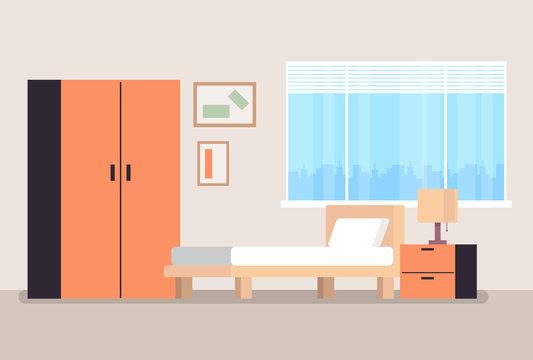 Empty bedroom concept. Vector flat cartoon graphic design illustration