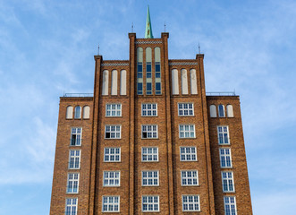 building in the city of rostock - brick facade of an old storage building