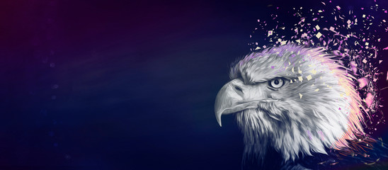 Eagle painting background, violet Wall mural