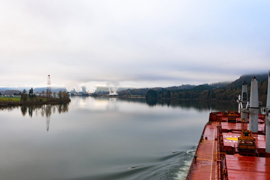 Cargo ship at beautiful Columbia river, Washington and Oregon in calm weather