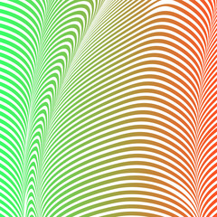 Abstract acid color wavy background, optical art, opart striped. Neon gradient