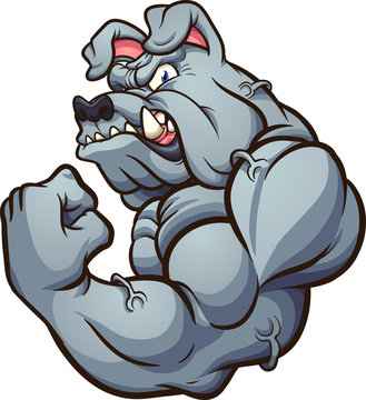 Strong cartoon bulldog mascot clip art. Vector illustration with simple gradients. All in a single layer.