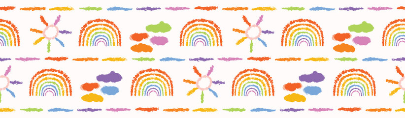 Hand drawn rainbow vector illustration. Multicolor seamless border pattern. Sketchy sun, cloud washi tape backdrop. Colorful spectrum kids home decor background. Edging banner trim. Gay friendly.