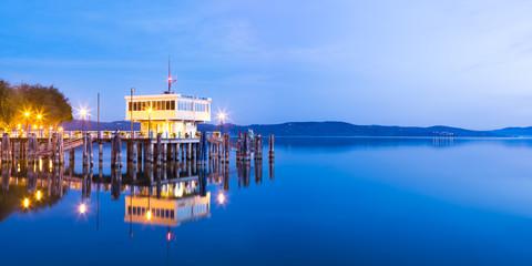 Pier with Ticket boarding islands Lake Trasimeno