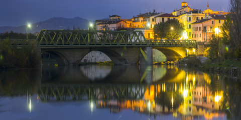 Night view of Umbertide's rocca, a little medieval city near perugia in umbria, crossed by the severe river
