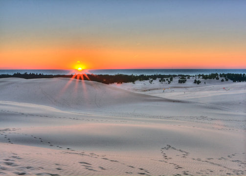 Sunset at Silver Lake State Park, Michigan