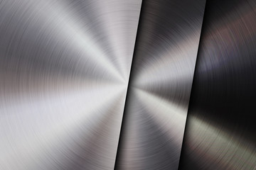 Fototapete - Metal textured abstract technology background with circular polished, brushed concentric texture, chrome, silver, steel, aluminum for design concepts, wallpapers, web and prints. Vector illustration.