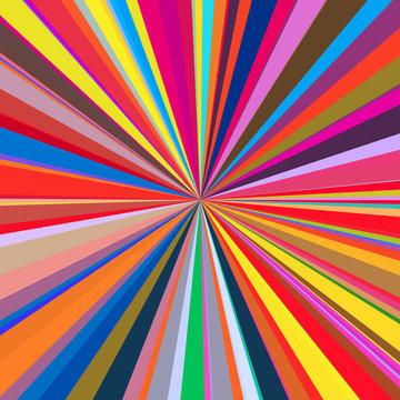 Colorful summer fun, starburst & sunburst vector background.
