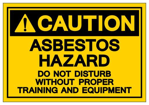 Caution Asbestos Hazard Symbol Sign, Vector Illustration, Isolated On White Background Label .EPS10