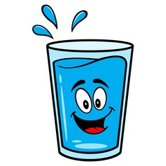 Glass of Water Mascot - A vector cartoon illustration of a glass of Water mascot.