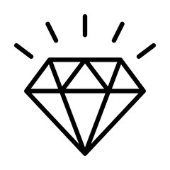 Diamond gemstone with sparkle line art vector icon for jewelry apps and websites