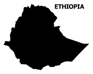 Vector Flat Map of Ethiopia with Name