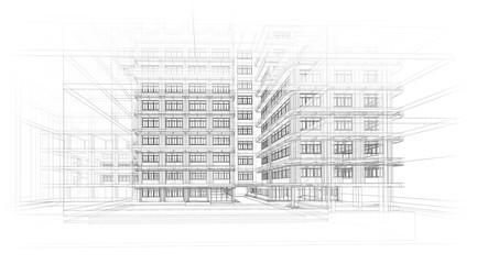 Obraz Architecture background. Perspective 3d Wireframe of building design and model my own - fototapety do salonu