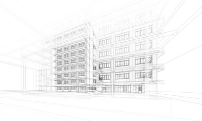 Architecture background. Perspective 3d Wireframe of building design and model my own Wall mural