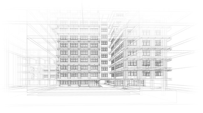 Architecture background. Perspective 3d Wireframe of building design and model my own