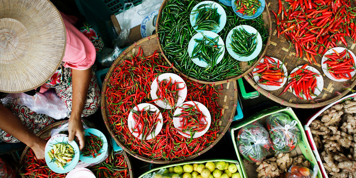Basket of dried chili pepper