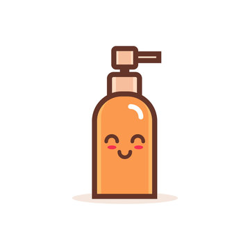 cute pump plastic bottle cartoon comic character with smiling face happy emoji kawaii style gel foam or liquid soap dispenser concept