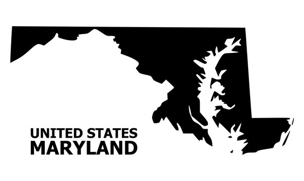 Vector Flat Map of Maryland State with Caption